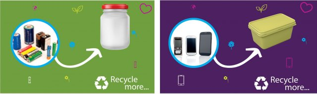 Battery recycling in a jar and mobile phone recycling in a butter tub