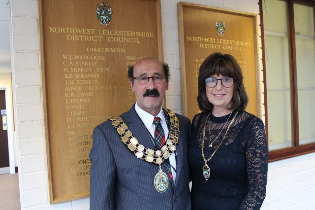 Chairman of NWLDC 2017-18 Cllr Virge Richichi and his consort Samantha