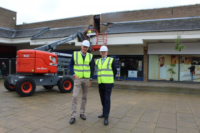 A photo of Cllr Richard Blunt with Nick Harcus in the Belvoir Shopping Centre ahead of the demolition works starting.