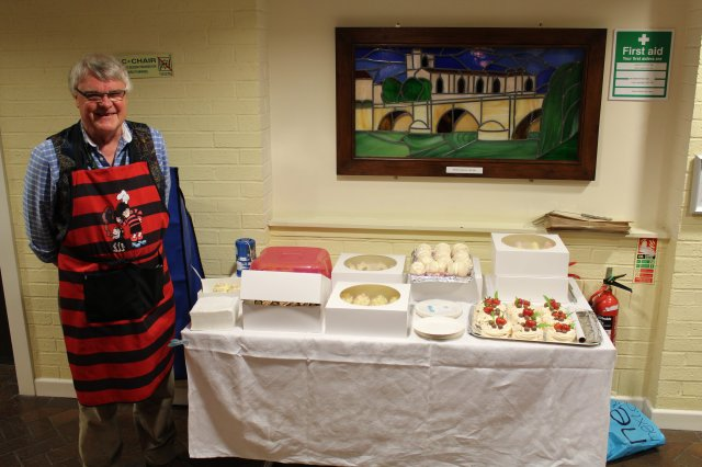 Councillor john clarke chairman of nwldc with his cakes ahead of the charity sale.