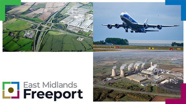 Grid image showing the East Midlands Freeport logo, a passenger aeroplane, an aerial view of a junction on the M1 and an aerial view of Ratcliffe on Soar Power Station