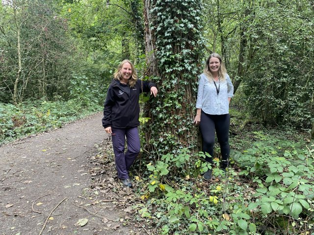Image of the organisers for the Free Tree Scheme 2021, including Zoe Sewter, Woodland Communities Adviser at the National Forest Company and Jessica Lloyd-Davies, Community Focus Support Officer at North West Leicestershire District Council.