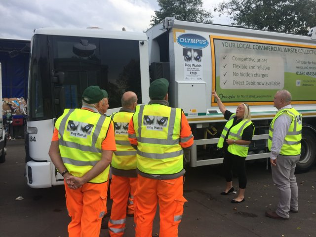 Jackie sykes talks to a waste collection team about the dog watch scheme 2