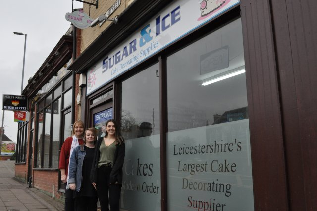 Debbie Bass Amy Newby Sophie Bass Outside the Sugar and Ice Shop