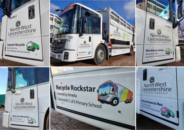 Image of the six recycling lorries with the names on an image of each pupil's entry sheet.