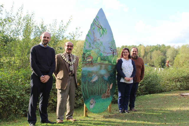 Celebration of North West Leicestershire District Council's first outdoor gallery with local artists at Conkers in Moira.