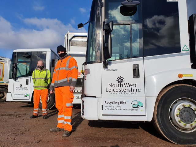 NWLDC waste services staff Adam Orton (left) and Kieron Jones (right)
