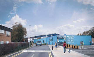 Artists Impression of the New Entrance at Ashby Leisure Centre