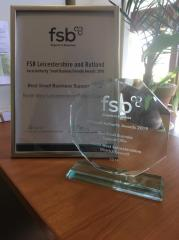 """FSB Best Small Business Support Offer award """" at the Federation of Small Business awards."""