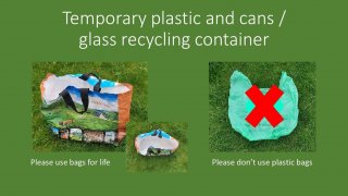 Image showing a bag for life as a suitable recycling container for plastics and cans, and separated glass whilst there are delivery delays for red boxes.