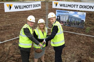 Springfields extra care scheme Ashby - Start on site - Cllr Roger Bayliss, Joanna Grainger (emh) and David Rowell (Willmott Dixon)