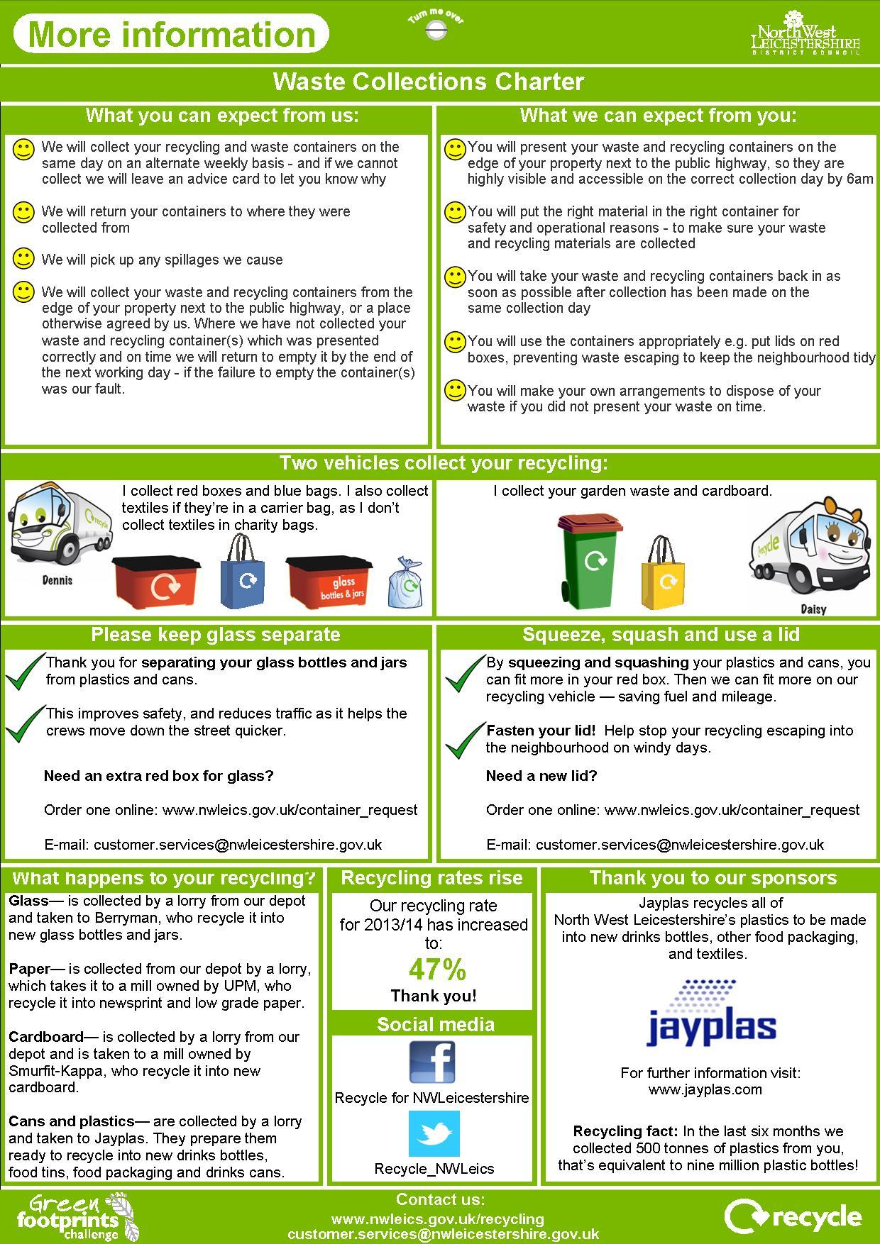 Recycling & refuse collection calendar 2014-15 rear cover